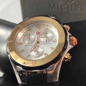 Michele Tahitian Jelly Black Silicone Chrono 36mm